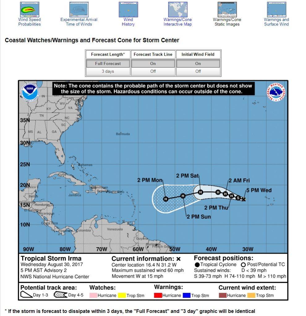 TS Irma Forecast Cone